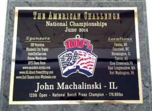 2014 Ameican Challenge Plaque